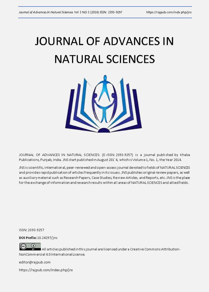 JOURNAL OF ADVANCES IN NATURAL SCIENCES